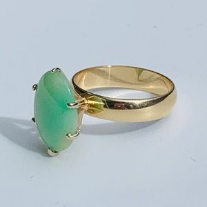 Oval Jade 14k Gold Ring Sz 6